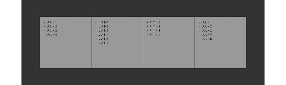 flexboxを使ったフッターリスト完成イメージ